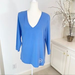 Michael Kors V-Neck Cotton Rhinestone T-Shirt XL